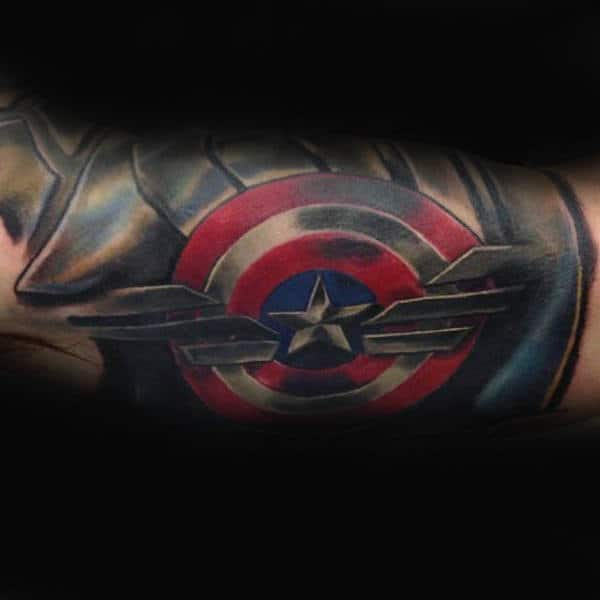 Captain America Shield Symbol Inner Arm Tattoo For Guys