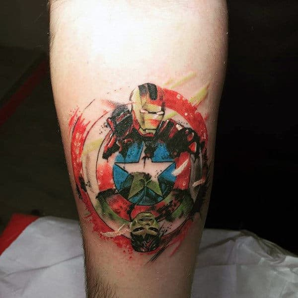 Captain America Shield Tattoo On Man With Ironman And Incredible Hulk Design