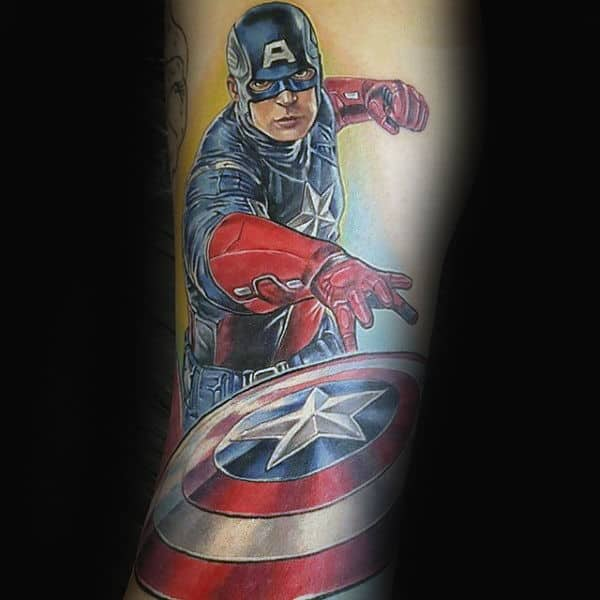 Captain America Throwing Shield Forearm Tattoo For Men