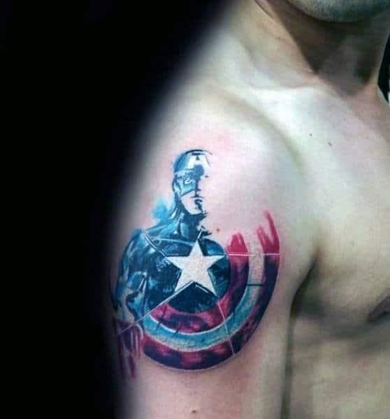 Captain America Watercolor Shield Upper Arm Male Tattoos