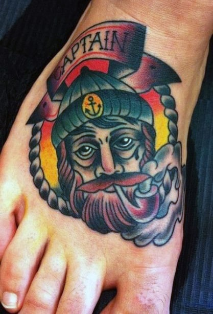 Captain Cool With Pipe Tattoo On Foot For Guys. 90 Foot Tattoos For Men   Step Into Manly Design Ideas