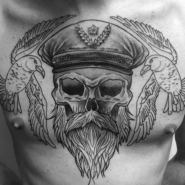 Captain Skull With Seagulls Mens Old School Upper Chest Tattoos