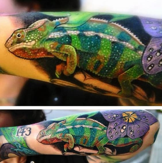 Captivating Green Lizard And Purple Flower Tattoo Mens Forearms