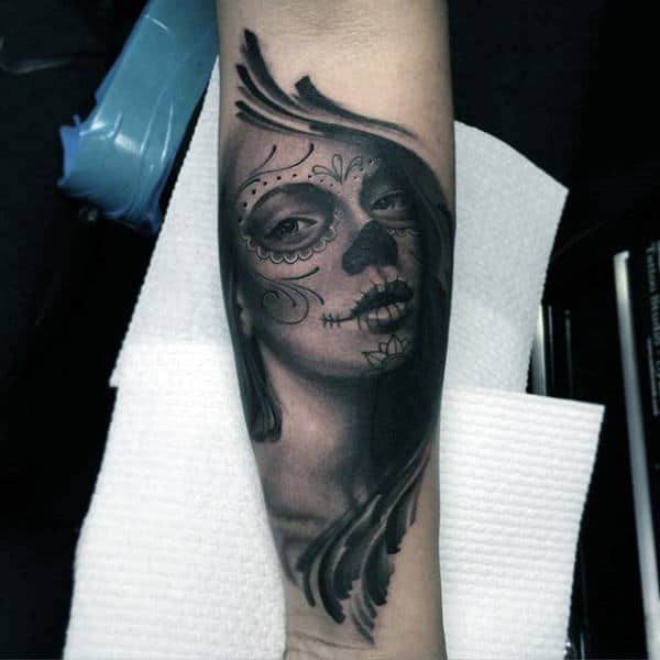 Captivating Lady Day Of The Night Tattoo Guys Forearms
