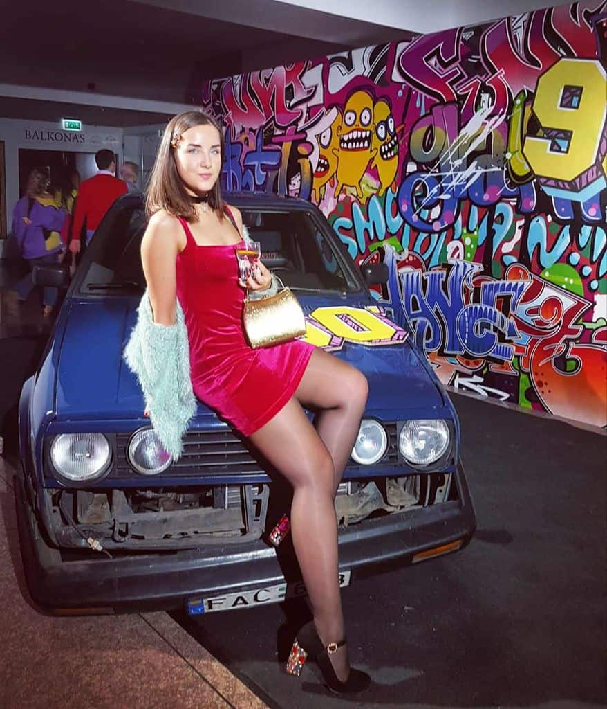 Car Red Dress Cute Girl Outfit