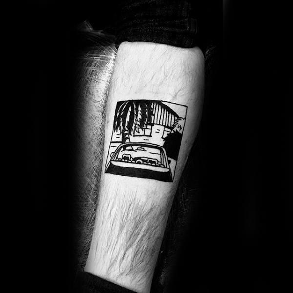Car With Beach House Small Minimalist Male Leg Tattoo