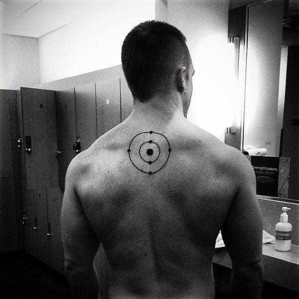 Carbon Atom Upper Back Chemistry Mens Tattoos