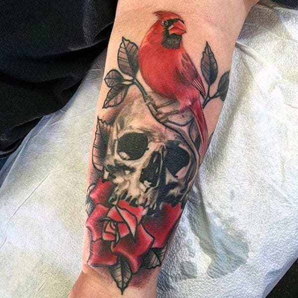 Cardinal With Skull And Rose Flower Mens Forearm Tattoo