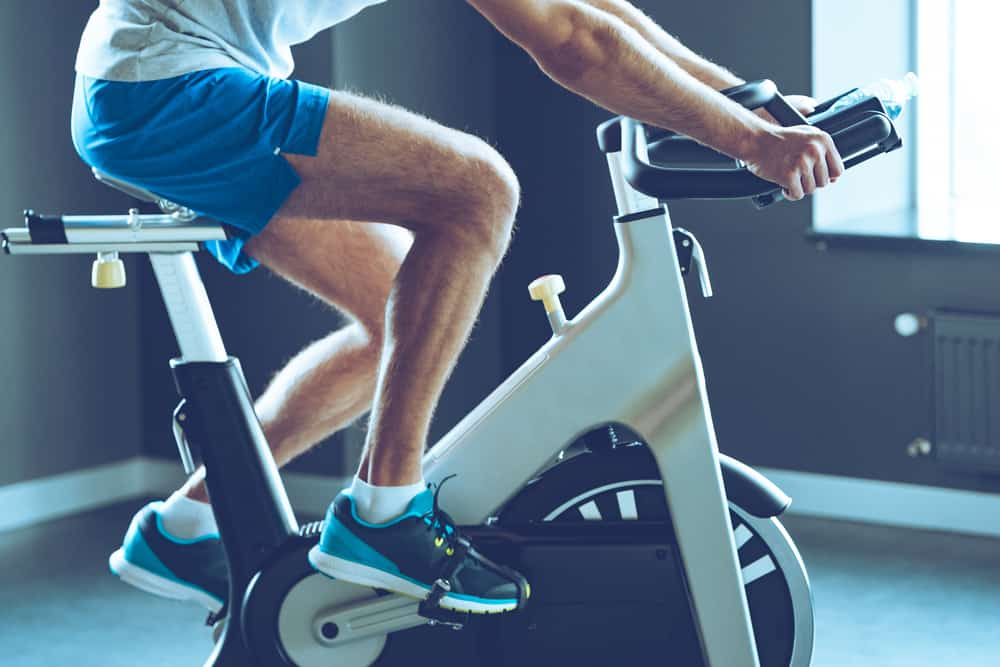 man cardio workout with black shoes