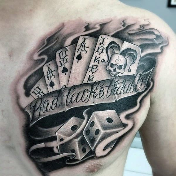 Cards And Dice With Banner Tattoo Mens Chest