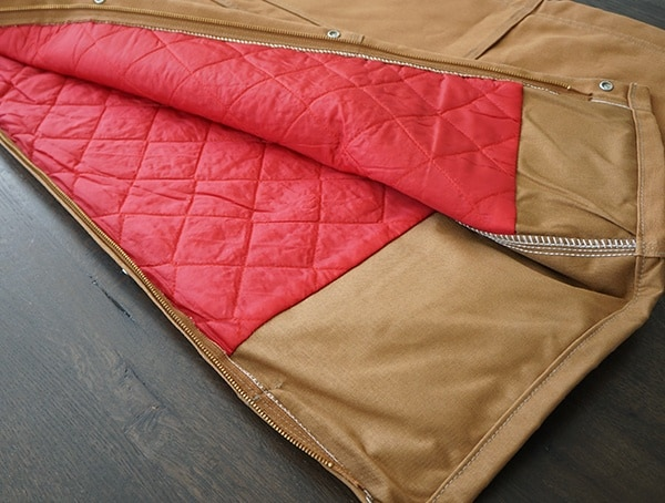 Carhartt Inner Red Quilt Lined Zip To Thigh Bib Overalls