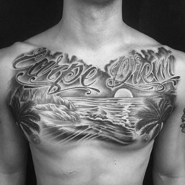 Carpe Diem Mens California Ocean Beach Tattoo Ideas