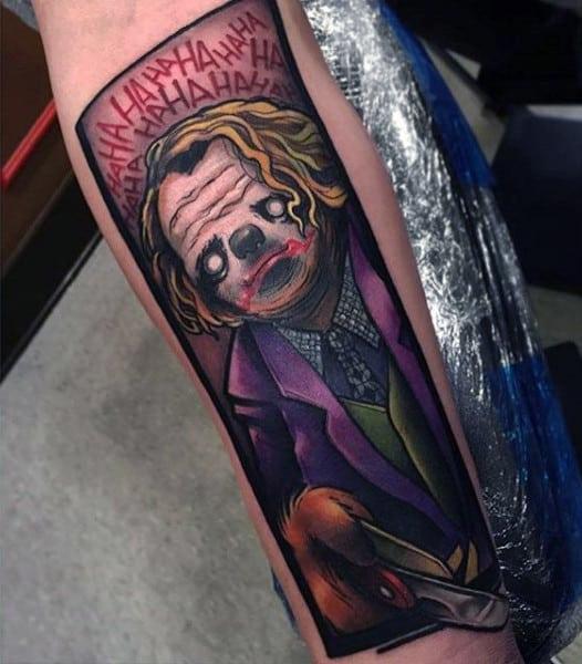 Cartoon Style Batman Joker Male Tattoos