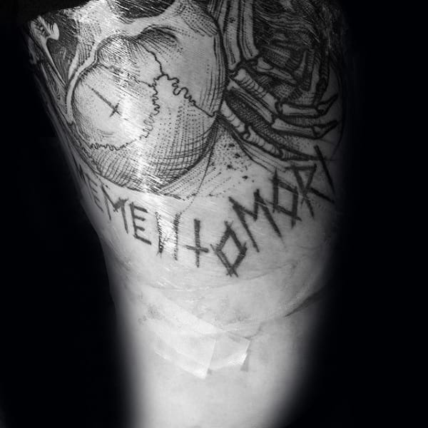Carved Memento Mori With Skull And Skeleton Hands Guys Thigh Tattoo