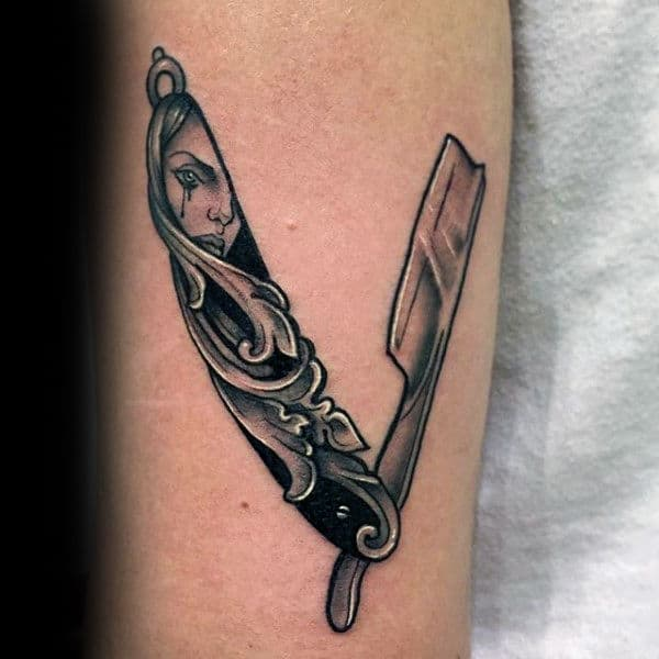 Carved Tear Stained Face Of Young Girl Straight Razor Tattoo Male Forearms