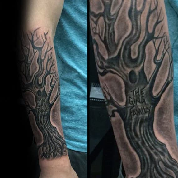 Carved Tree Trunk Male Family Tree Forearm Sleeve Tattoos