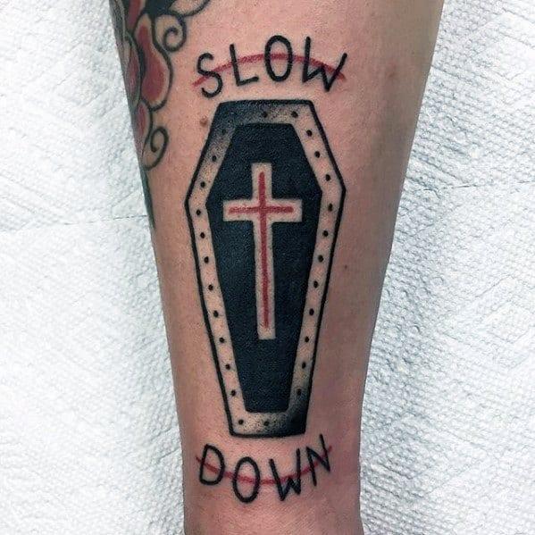 Casket With Cross Mens Old School Simple Christian Leg Tattoo