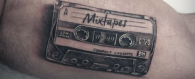 Cassette Tape Tattoo Designs For Men on tape box
