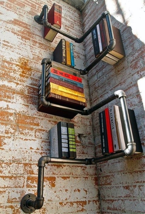 Cast Iron Pipe Diy Cheap Man Cave Book Wall Shelf Ideas
