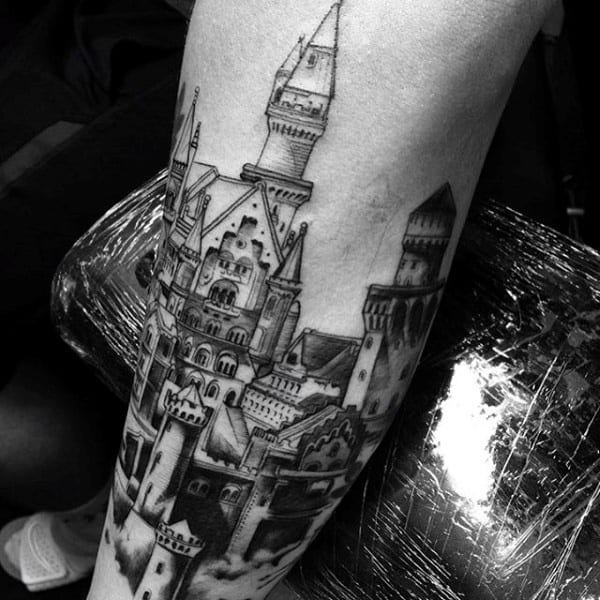 Castle Architecture Tattoo For Gentlemen On Forearm