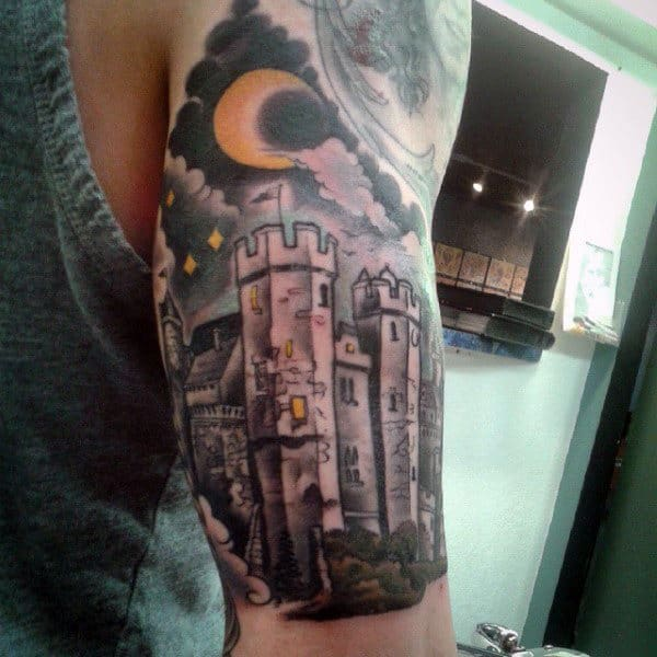 Castle At Night With Half Moon Mens Half Sleeve Tattoo