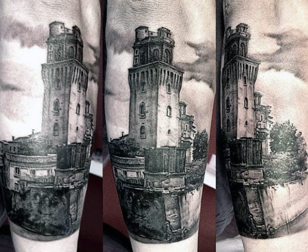 Castle Building Mens Forearm Tattoo