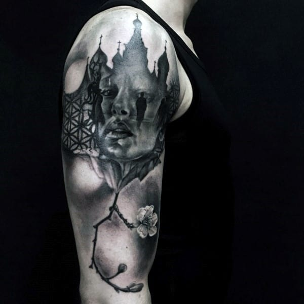 Castle Cherry Blossom Tree Mens Portrait Half Sleeve Tattoo
