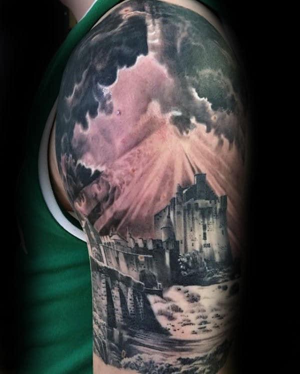 Castle Landscape Mens Cloudy Sky Half Sleeve Tattoo Designs