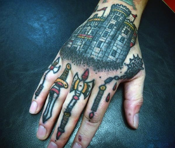 Castle With Medieval Weapons Mens Traditional Hand Tattoo