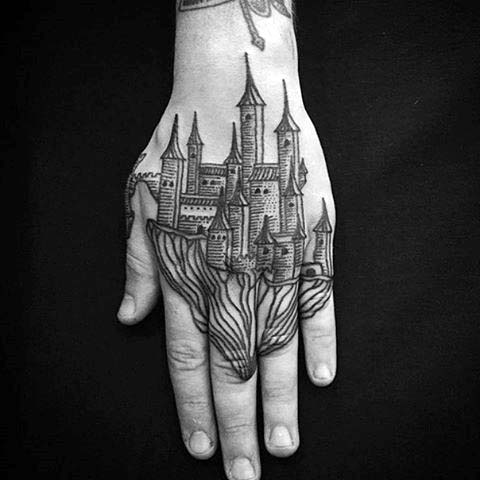 Castle Woodcut Mens Hand Tattoos