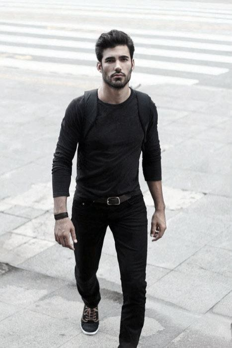 Casual Shirt And Jeans All Black Outfits Mens