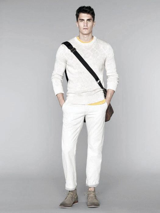 Casual Summer Sweater With Pants Guys All White Outfits