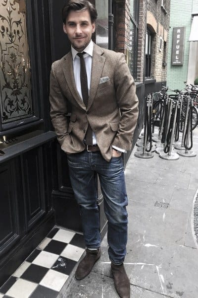 Casual Wear Male Style Tan Blazer With Jeans
