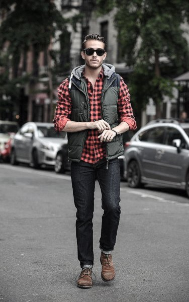 Casual Wear Mens Fashion Ideas Red Checkered Dress Shirt With Green Vest And Blue Jeans
