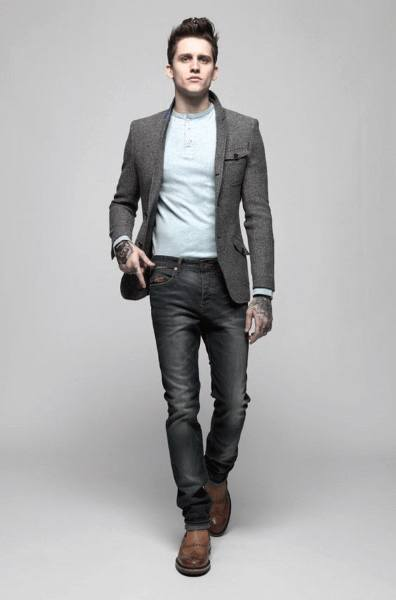 Casual Wear Mens Styles Grey Blazer With Jeans