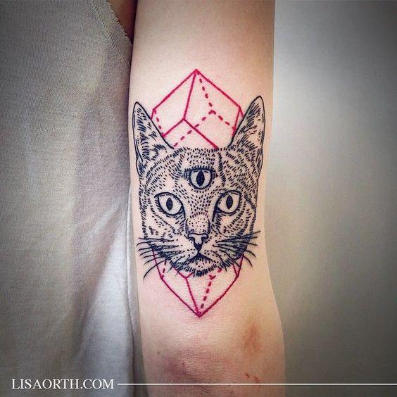 Cat Geometric Tattoo