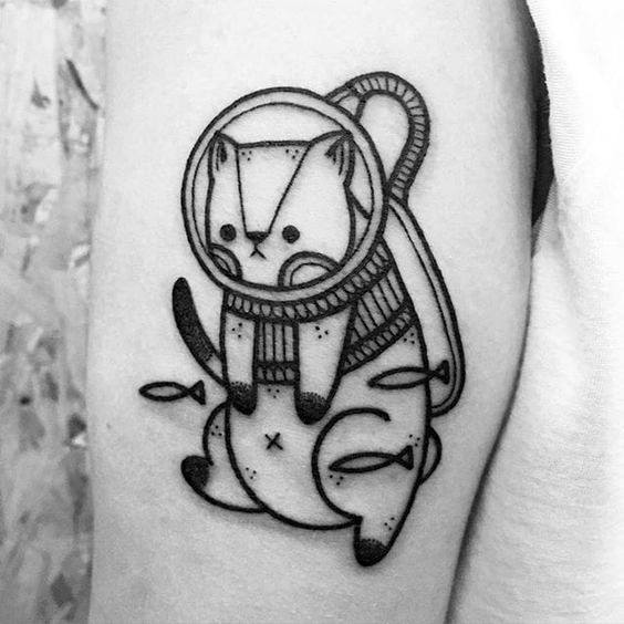 Cat Male Tattoos With Outer Space Theme
