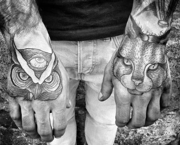 Cat Tattoo For Guys On Hands