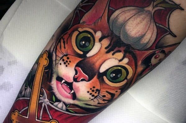 Cat Themed Neo Traditional Sleeve Tattoo Ideas For Men
