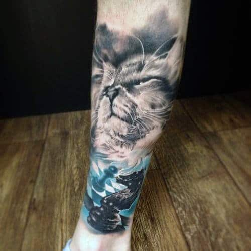 Cat With Chessboard Watercolor Forearm Male Sleeve Tattoo Ideas