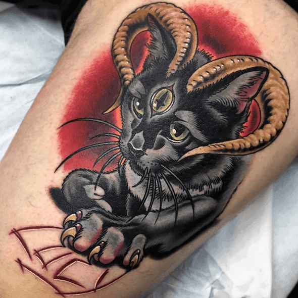 Cat With Horns 3d Thigh Tattoos For Men