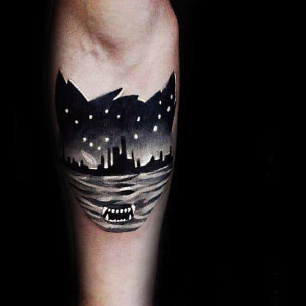 Cat With Skyline Mens Unique Inner Forearm Tattoo