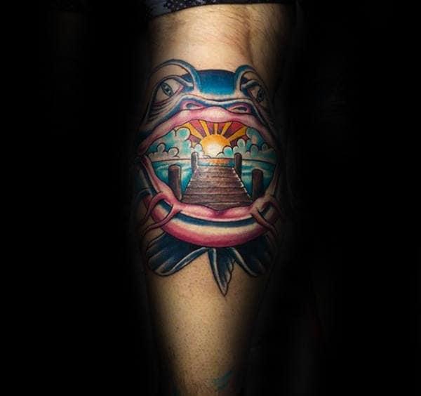 Catfish With Wood Dock And Sunset Mens Leg Calf Tattoos