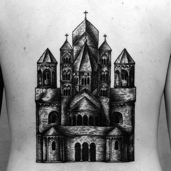 50 Cathedral Tattoo Designs For Men Church Ink Ideas