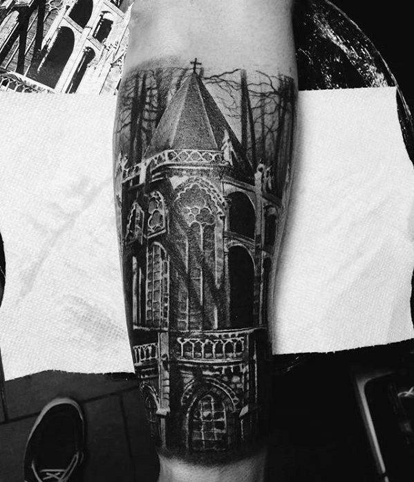 Cathedral Tattoo Ideas For Males