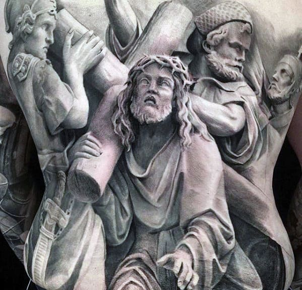 Catholic 3d Jesus Bearing Cross Mens Full Back Tattoo