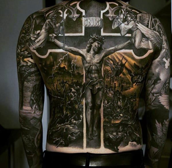 Catholic Jesus On The Cross Mens 3d Back Tattoo Designs