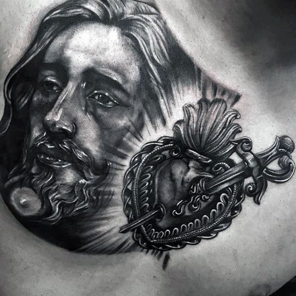 Catholic Jesus Portrait With Heart Mens 3d Chest Tattoo