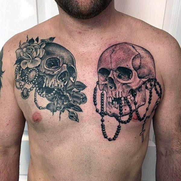 Catholic Rosary Tattoo Designs For Guys On Chest With Skulls