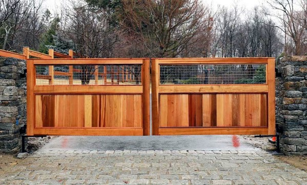 Cedar Wood Driveway Gate Ideas With Stone Columns